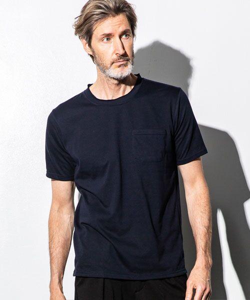 SHIFFON / シフォン Tシャツ | カットオフポケットTシャツ(ネイビー)