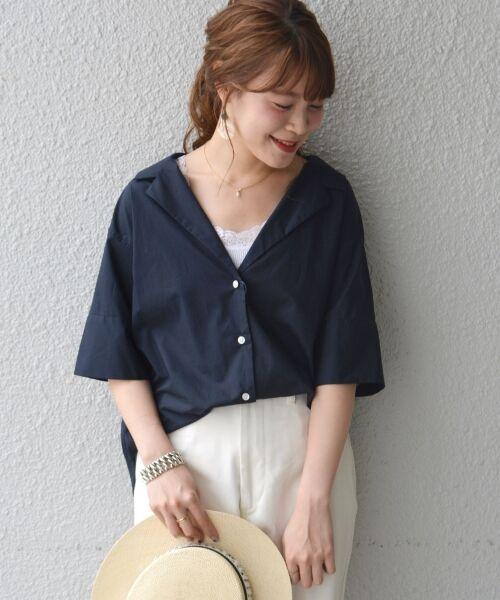 SHIPS for women / シップスウィメン シャツ・ブラウス   Prefer SHIPS:オープンカラーシャツ(ネイビー)