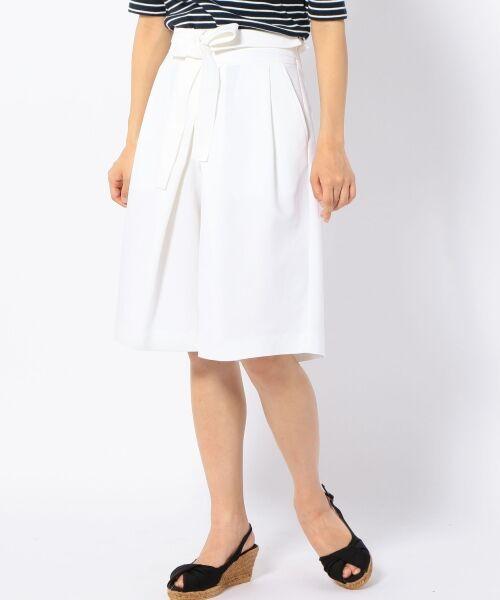 SHIPS for women / シップスウィメン ショート・ハーフ・半端丈パンツ | Prefer SHIPS: タックベルトキュロット(オフホワイト)