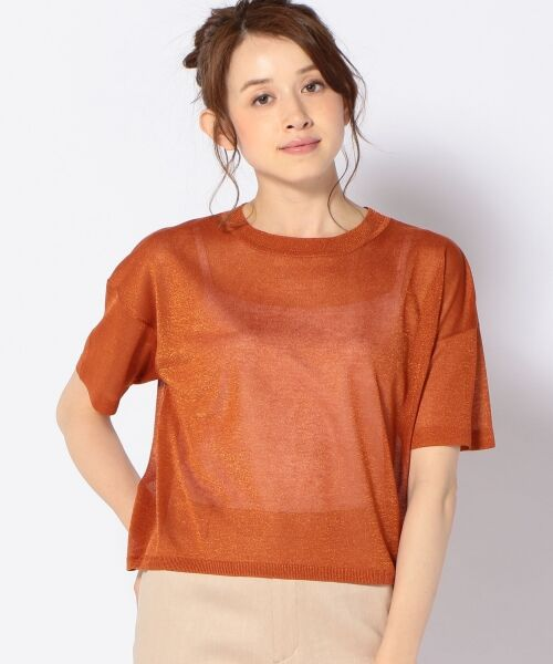 SHIPS for women / シップスウィメン ニット・セーター | Prefer SHIPS: ラメクルーネックニット(オレンジ)