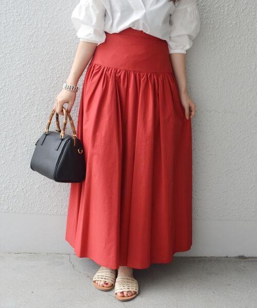 SHIPS for women / シップスウィメン ロング・マキシ丈スカート | Prefer SHIPS: タフタマキシスカート(レッド)