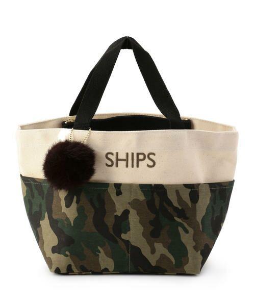 SHIPS for women / シップスウィメン トートバッグ | ポケットトートバッグ(オリーブ)