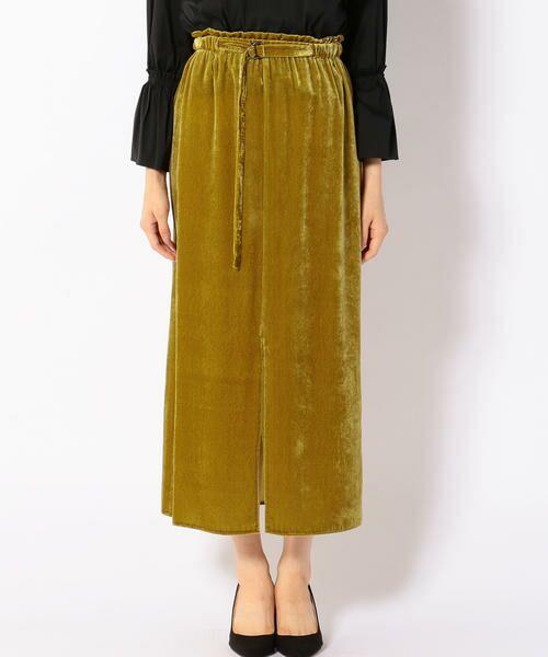 SHIPS for women / シップスウィメン ロング・マキシ丈スカート | Prefer SHIPS: フロントスリットベルベットスカート | 詳細1