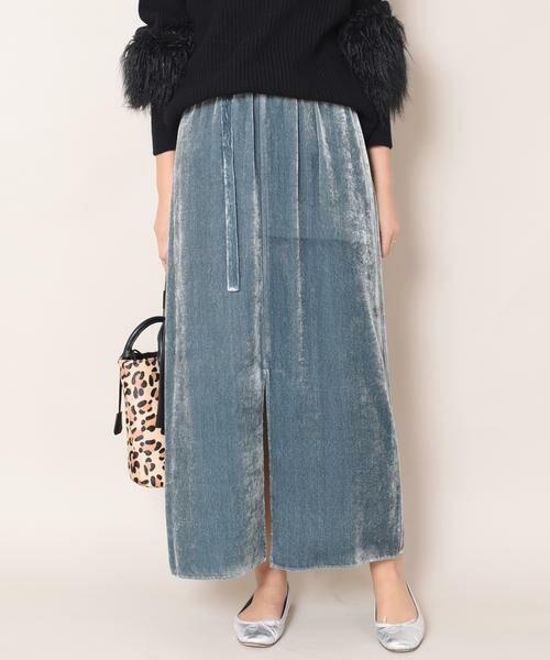 SHIPS for women / シップスウィメン ロング・マキシ丈スカート | Prefer SHIPS: フロントスリットベルベットスカート(ライトブルー)