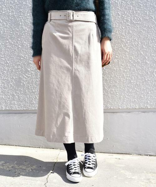 ワイドコーデュロイベルテッドスカート