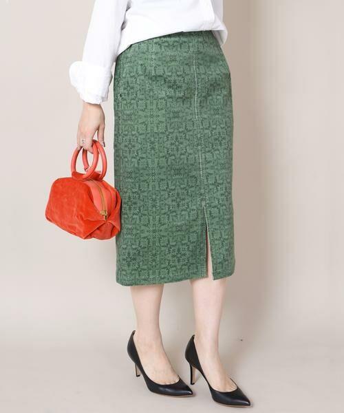 SHIPS for women / シップスウィメン ロング・マキシ丈スカート | Prefer SHIPS:プリントコーデュロイタイトスカート◆(ライトグリーン)