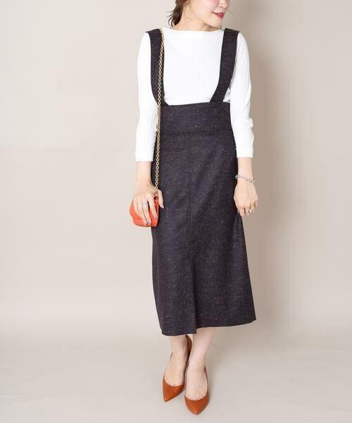 SHIPS for women / シップスウィメン ロング・マキシ丈スカート | Prefer SHIPS:カラーネップサスペンダースカート◆(ブラウン)
