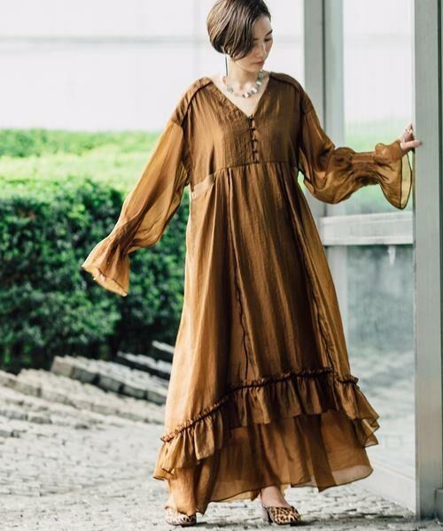 SHIPS for women / シップスウィメン ロング・マキシ丈ワンピース | muller of yoshiokubo:【SHIPS別注】ドレス(ベージュ)