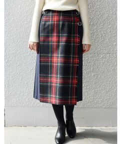ONEIL OF DUBLIN:チェック×ソリッドキルトスカート
