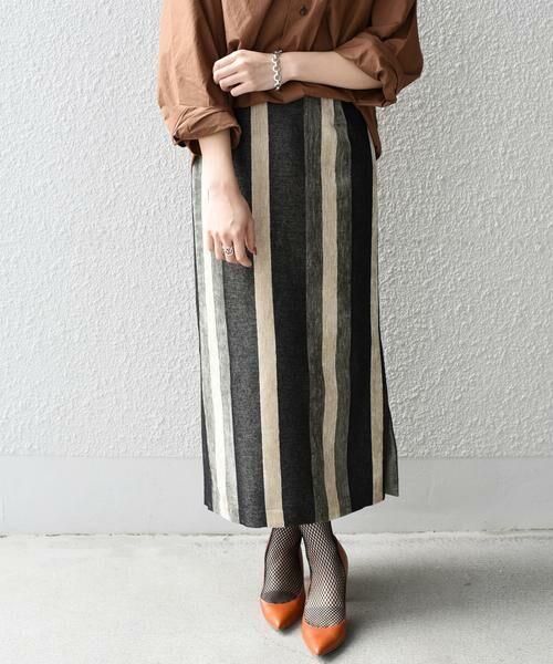 SHIPS for women / シップスウィメン ミニ・ひざ丈スカート | Prefer SHIPS: マルチストライプスカート(ブラック)