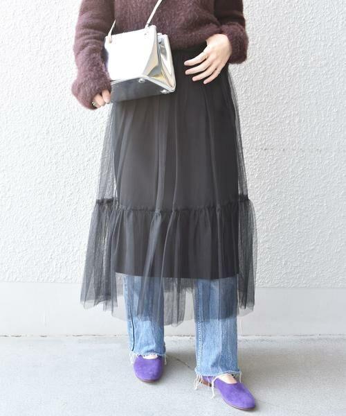 SHIPS for women / シップスウィメン ロング・マキシ丈スカート | Prefer SHIPS: チュールレイヤードギャザースカート(ブラック)