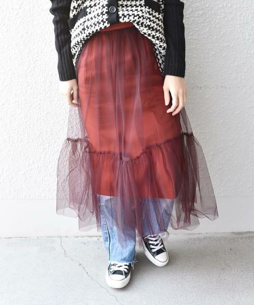 SHIPS for women / シップスウィメン ロング・マキシ丈スカート | Prefer SHIPS: チュールレイヤードギャザースカート(ブラウン)