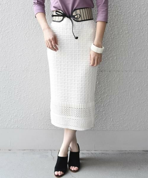 SHIPS for women / シップスウィメン ロング・マキシ丈スカート | Prefer SHIPS: かぎ編みスカート(オフホワイト)