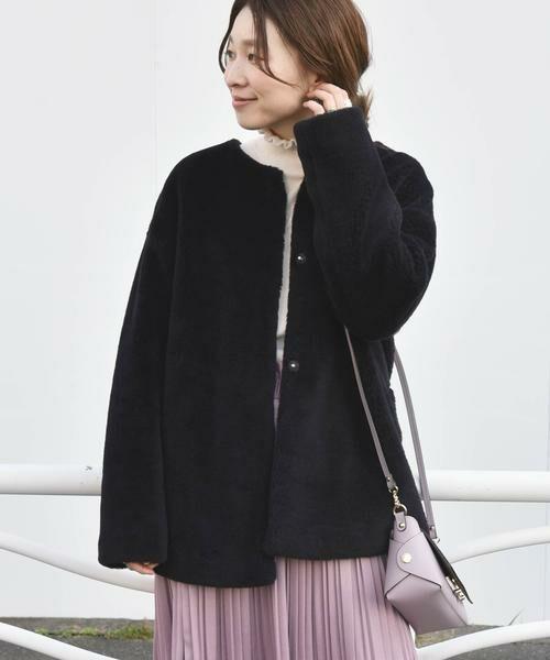 SHIPS for women / シップスウィメン その他アウター   ボアノーカラーショートコート◇(ネイビー)