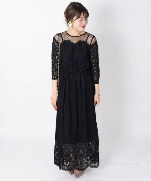 SHIPS for women / シップスウィメン ドレス | little black:レースチュールマキシワンピース◆(ブラック)
