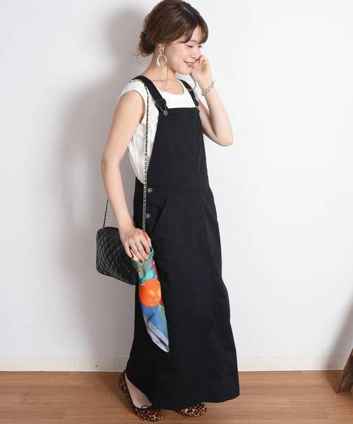 SHIPS for women / シップスウィメン ミニ丈・ひざ丈ワンピース | UNIVERSAL OVERALL:【SHIPS別注】ジャンパースカート◇(ブラック)