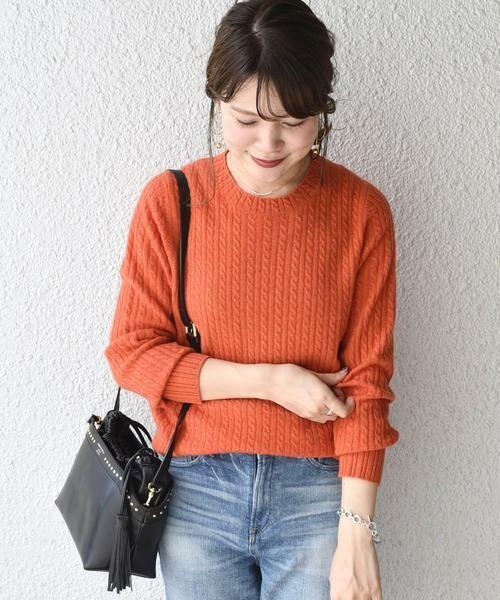 SHIPS for women / シップスウィメン ニット・セーター | カシミヤケーブルクルーネックニット◇(オレンジ)