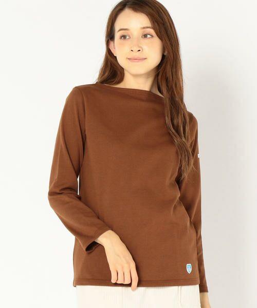 SHIPS for women / シップスウィメン カットソー | ORCIVAL:バスクシャツ(ブラウン)