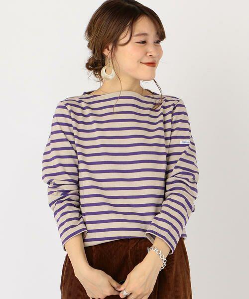 SHIPS for women / シップスウィメン カットソー | ORCIVAL:バスクシャツ(パープル)