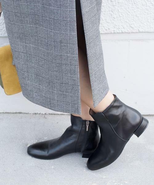 SHIPS for women / シップスウィメン ブーツ(ショート丈) | MARIAN:サイドジップフラットショートブーツ◇ | 詳細1