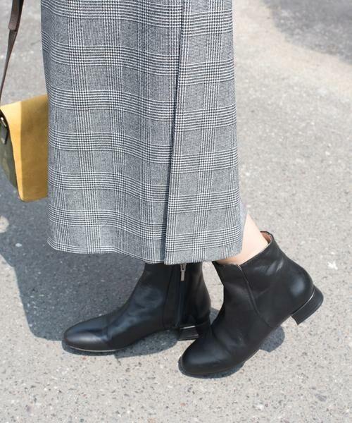 SHIPS for women / シップスウィメン ブーツ(ショート丈) | MARIAN:サイドジップフラットショートブーツ◇(ブラック)