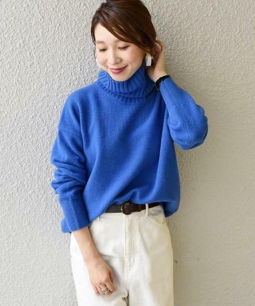 SHIPS for women / シップスウィメン その他トップス | ウールカシミヤタートルネックプルオーバー(ブルー)