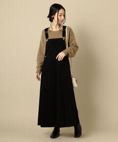 程よいフレアシルエットが可愛らしい印象のジャンパースカート。<br>バックネックがVになっているので、後姿もスッキリと見せてくれる一枚です◎<br><br>※末永く愛用頂く為に、アテンションタグ・洗濯ネームを必ずご確認の上、着用又はお取り扱い下さい。<br>
