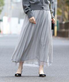 <font color=#ff69b4>リバーシブルで楽しめるミドルスカート</font><br><br>チュールとのリバーシブルで雰囲気を変えて楽しめるスカートは、程よいロング丈が上甘くなり過ぎずに合わせられるデザイン。<br>上品な光沢感と滑らかな肌触りに、透けにくいのも嬉しいポイント。<br>季節を問わない素材が、ロングシーズンで幅広いスタイルに活躍してくれるアイテムです。<br><br><br>※末永く愛用頂く為に、アテンションタグ・洗濯ネームを必ずご確認の上、着用又はお取り扱い下さい。<br><br><font color=RED>※画像の商品はサンプルです。 </b></font><br>実際の商品と仕様、加工、サイズが若干異なる場合がございます。<br><br><br>※屋外での撮影画像は、光の当たり具合で色味が異なって見える場合があります。商品の色味は、スタジオでの詳細画像をご参照ください。<br>