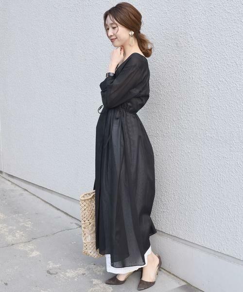 SHIPS for women / シップスウィメン ロング・マキシ丈ワンピース | シャドーストライプ2WAYワンピース◇(ブラック)