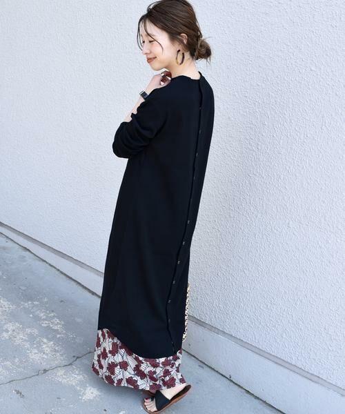 SHIPS for women / シップスウィメン ロング・マキシ丈ワンピース | ジャージーテレコスナップ2WAYワンピース◇(ブラック)
