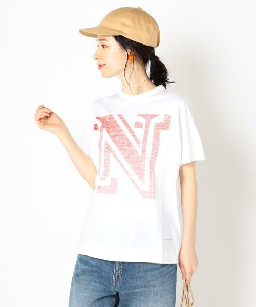 SHIPS for women / シップスウィメン Tシャツ | helder:コットンNプリントTEE(レッド)