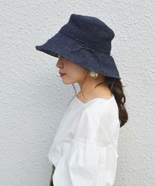 SHIPS for women / シップスウィメン ハット | ペーパー細編みハット◇(ネイビー)