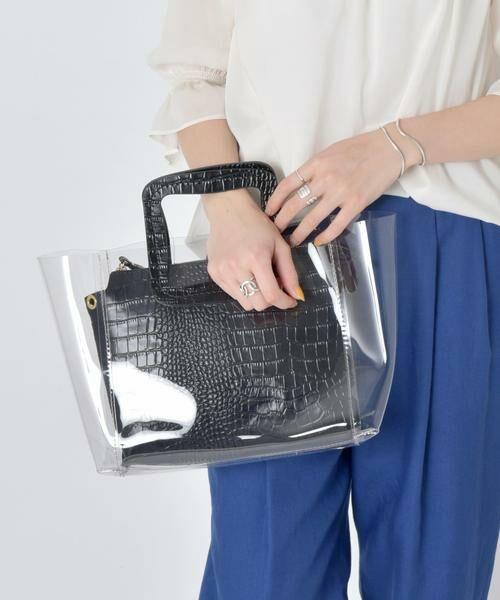 SHIPS for women / シップスウィメン トートバッグ | ANITA BILARDI :2WAY PVCバッグ(ブラック)