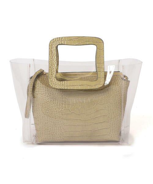 SHIPS for women / シップスウィメン トートバッグ | ANITA BILARDI :2WAY PVCバッグ(ベージュ)