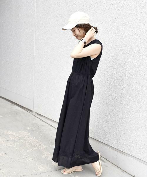 SHIPS for women / シップスウィメン ロング・マキシ丈ワンピース | ピンタック2WAYギャザーワンピース◇(ブラック)