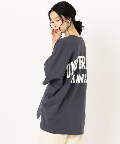 SHIPS for women / シップスウィメン Tシャツ   カレッジビッグTee(ネイビー)