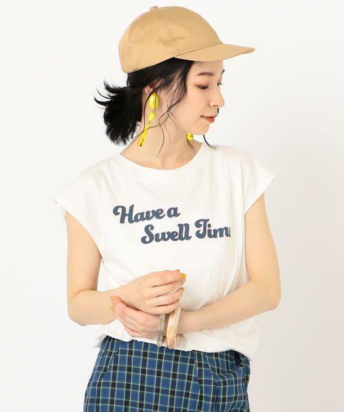 SHIPS for women / シップスウィメン Tシャツ | 81BRANCA:フレンチスリーブロゴTee(ホワイト)