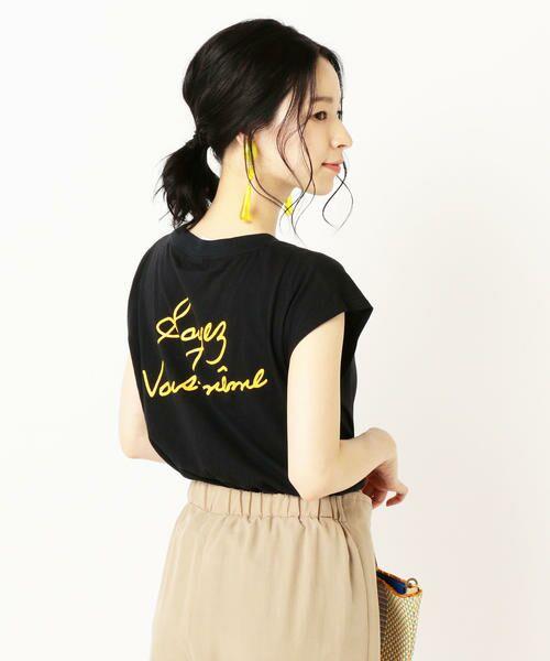 SHIPS for women / シップスウィメン Tシャツ | 81BRANCA:フレンチスリーブロゴTee(ブラック)
