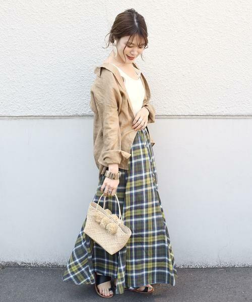 SHIPS for women / シップスウィメン ロング・マキシ丈スカート | マドラスチェックギャザースカート | 詳細13