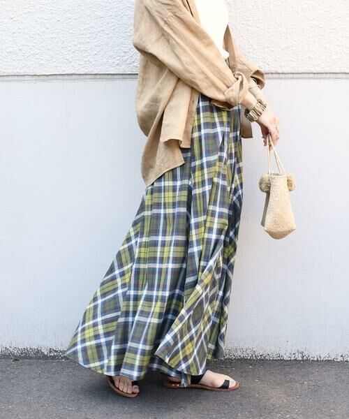 SHIPS for women / シップスウィメン ロング・マキシ丈スカート | マドラスチェックギャザースカート(グリーン)