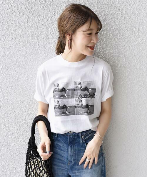SHIPS for women / シップスウィメン Tシャツ | Roberta Bayley プリントTee(オフホワイト)