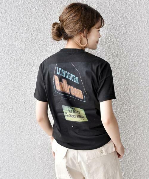 SHIPS for women / シップスウィメン Tシャツ | Roberta Bayley プリントTee(ブラック)