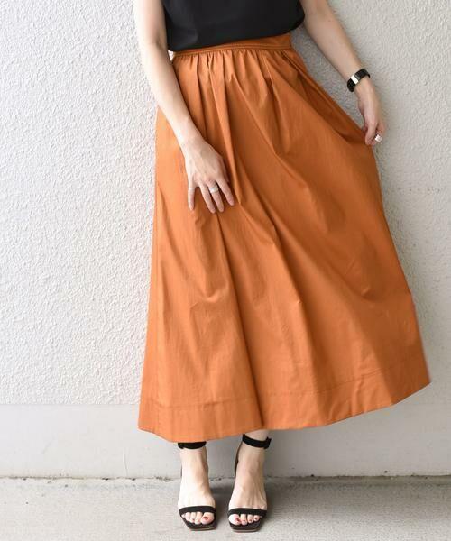 SHIPS for women / シップスウィメン ミニ・ひざ丈スカート | タックスカート(オレンジ)