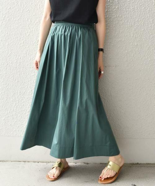 SHIPS for women / シップスウィメン ミニ・ひざ丈スカート | タックスカート(グリーン)