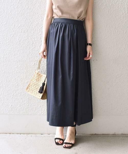 SHIPS for women / シップスウィメン ミニ・ひざ丈スカート | タックスカート(ネイビー)
