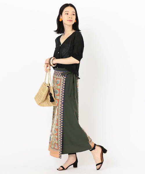 SHIPS for women / シップスウィメン ロング・マキシ丈スカート | スカーフプリントラップスカート | 詳細13