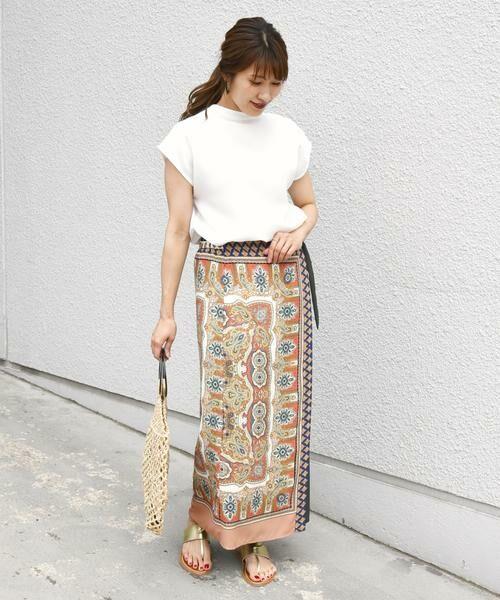 SHIPS for women / シップスウィメン ロング・マキシ丈スカート | スカーフプリントラップスカート | 詳細16