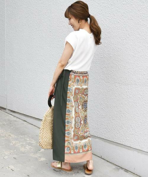 SHIPS for women / シップスウィメン ロング・マキシ丈スカート | スカーフプリントラップスカート | 詳細17