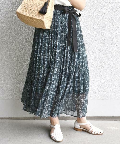 SHIPS for women / シップスウィメン ミニ・ひざ丈スカート | ドットプリーツスカート(グリーン)