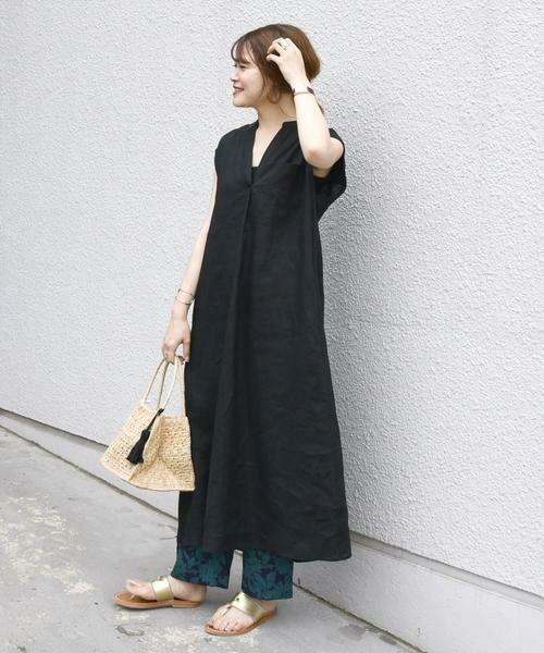 SHIPS for women / シップスウィメン ロング・マキシ丈ワンピース   リネンノースリーブワンピース(ブラック)